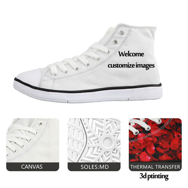FORUDESIGNS Vintage Black Punk Skull Printed Vulcanized Shoes for Ladies Casual Women High Top Canvas Shoes Female Lace up Flats