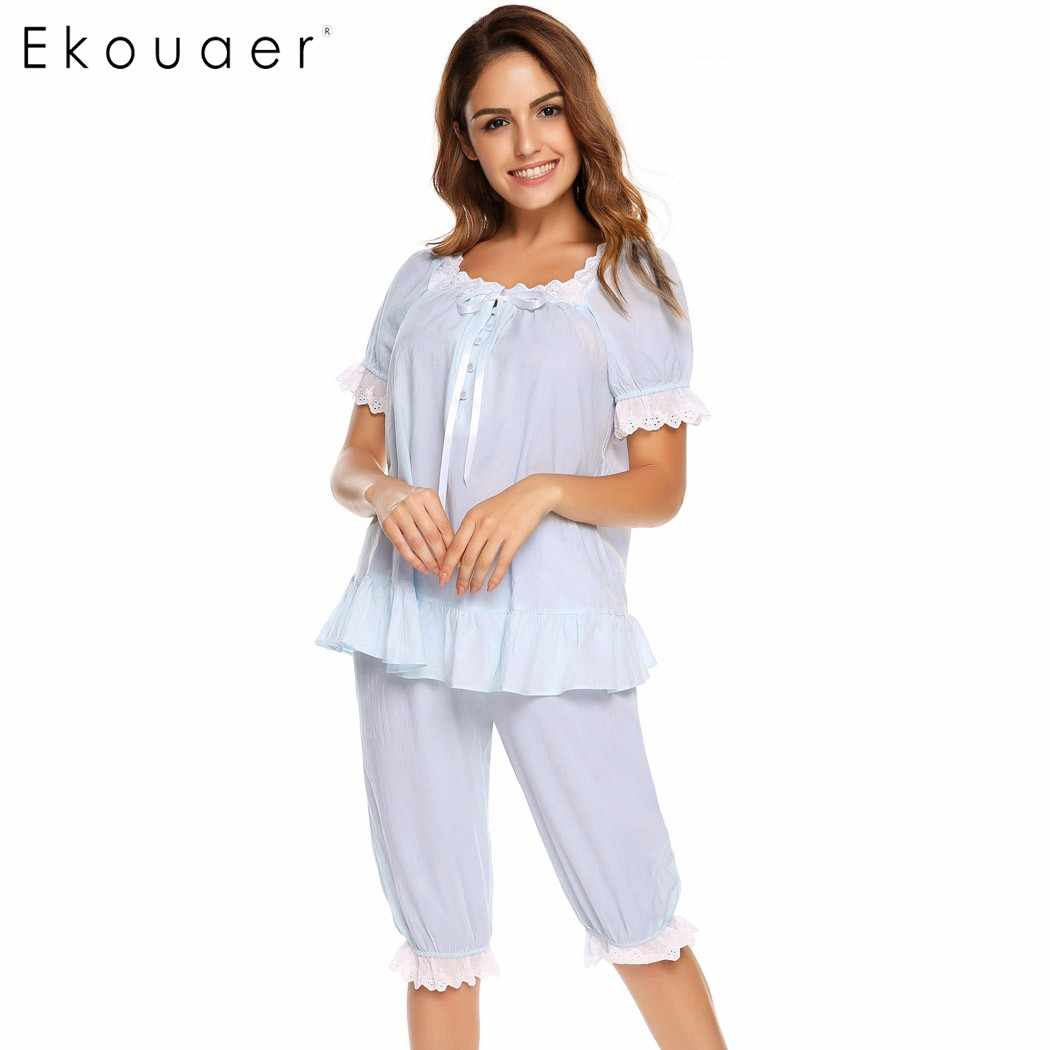 a607d7da6 ... Ekouaer Vintage Pajamas Set Women Lace Patchwork Sleepwear Victorian  Short Sleeve Nightwear Summer Cute Nightgown Female ...