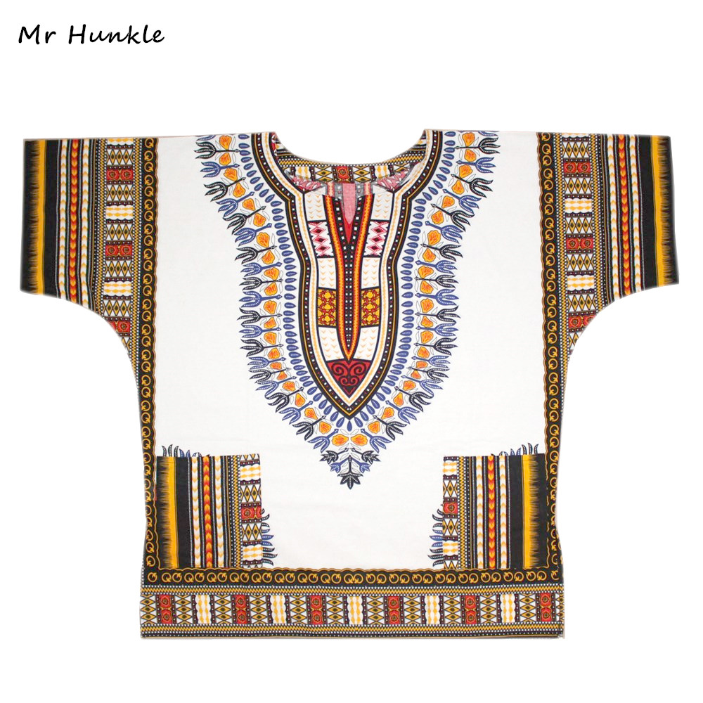 Band Mr Hunkle Plus SizeXXL, XXXL Dashiki Dress 100% Cotton African Traditional Print White Dashiki Clothing For Men Women