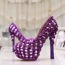 Gorgeous Purple 5 Inches Wedding Bouquet Prom Shoes Crystal Platform Heels Pumps Women Wedding Party Dress Shoes