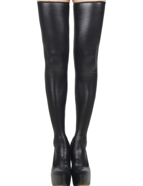 Black leather stockings back zipper