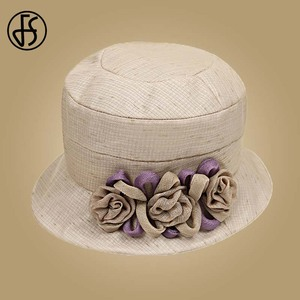 Image 3 - FS Flower Sun Hat For Women Summer Cotton Beach Hats Foldable Orange Beige Wide Brim Sunscreen Visor Cap