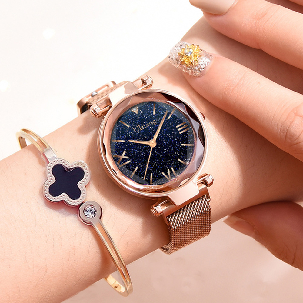 Popular Women Watches Fashion Elegant Magnet Buckle Mysterious Purple Lady Wristwatch 2018 Starry Sky Roman Numeral Gift Clock đồng hồ gucci dây nam châm