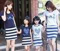New Family outfits Summer clothes ,Family Love t shirt + Striped dress sets Woman girls cotton set 2colors