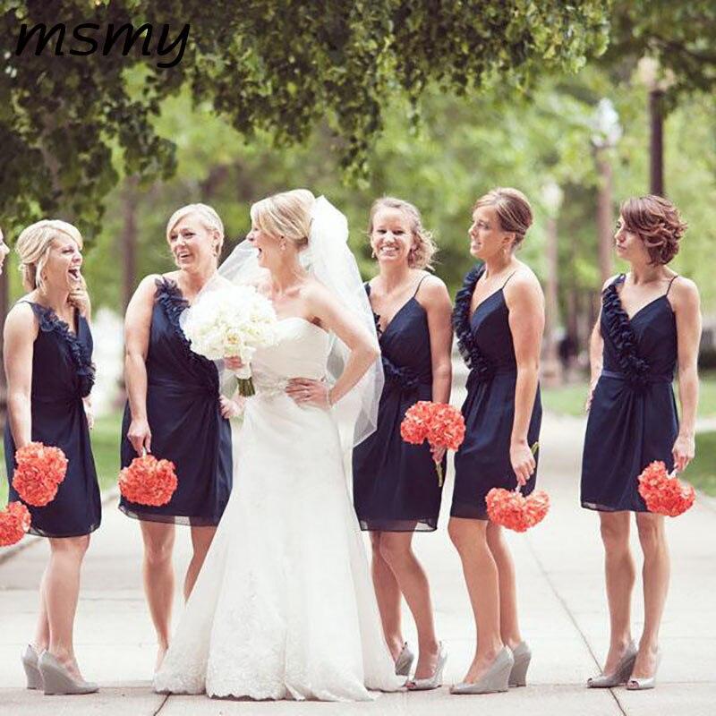Simple A-Line   Bridesmaid     Dresses   Chiffon V Neck Navy Blue Straps Ruffles   Bridesmaid     Dresses   Party Prom   Dresses   Custom Made
