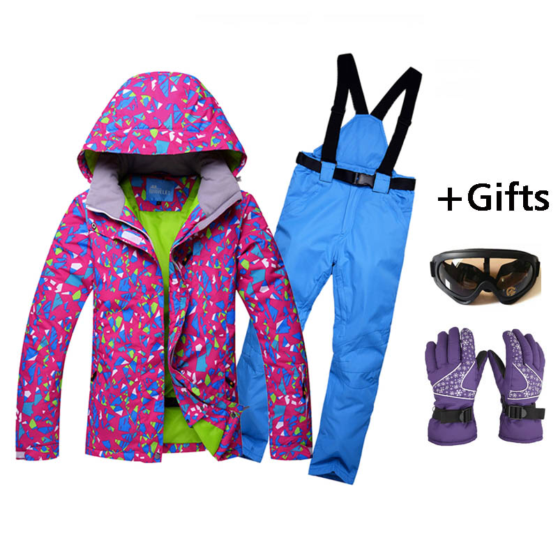 Women Skiing Jackets And Pants Snowboard sets Thick Warm Waterproof Windproof Winter female Ski suit purple cotton coats top quality womens skiing suit sets windproof waterproof thermal snowboard jackets and pants girl winter cotton snow dress