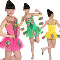 10pcs/lot Free Shipping Children Dance Wear Clothes with Flowers Kids Girls Dance Dress Stage Performance Ballroom Costumes