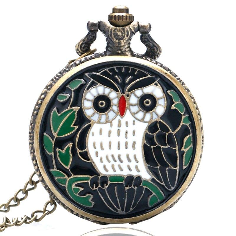 Vintage Classic Bronze Enamel Owl Quartz Pocket Watch Necklace Women Men Watches 2019 New Arrival Fashion Clock
