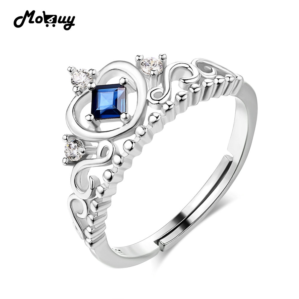 Mobuy Mbri047 Natural Gemstone Queen Crown Sapphire Rings 925  Sterlingsilverjewelry White Gold