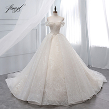 Fmogl Vestido De Noiva Boat Neck Ball Gown Wedding Dresses 2019 Sexy Backless Beaded Chapel Train Lace Vintage Bridal Gown