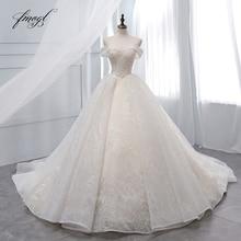 Fmogl Vestido דה Noiva סירת צוואר כדור שמלת חתונת שמלות 2019 סקסי ללא משענת חרוזים קפלת רכבת תחרה בציר כלה שמלה
