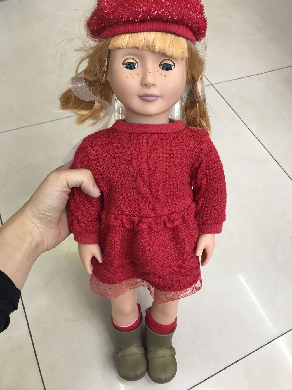 American Doll Alive 18 Inch without box Reborn+Fashion Clothes Suit&Cute Doll Long Curly Hair For Generation Toy