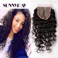 Sunnymay barato por atacado cabelo virgem grau 8a cabelo brasileiro lace closure oriente parte onda profunda lace closure top encerramento 4x4