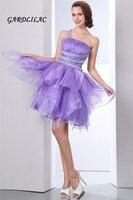 Реальные фотографии лаванды бальное платье Короткие платье для выпускного вечера платье Homecoming 2017 одно плечо Сирень коктейльное платье с бу