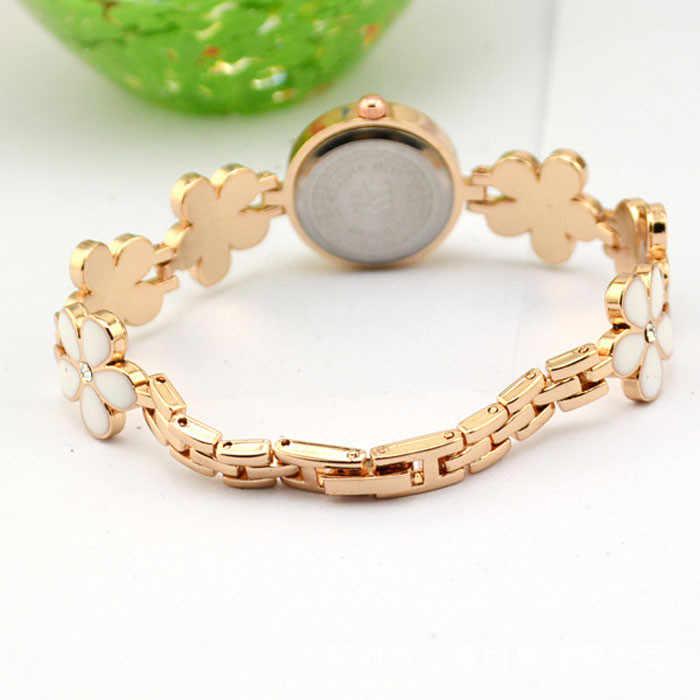 Reloj de pulsera de oro rosa con diseño de flores y margaritas a la moda para Mujer