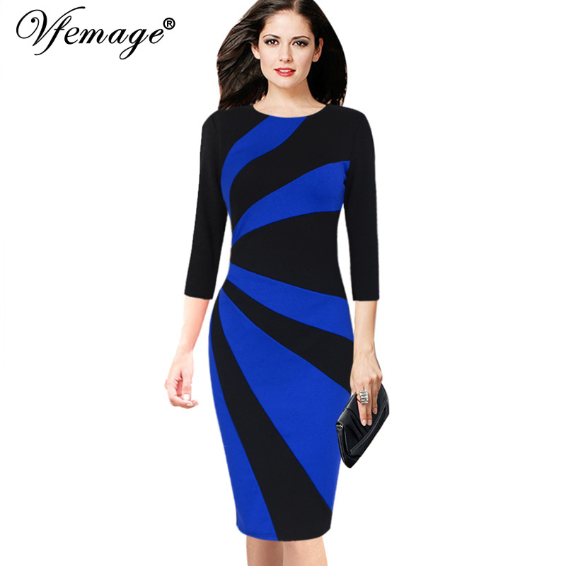 Vfemage Womens Elegant Business Party Bodycon Pencil Dress