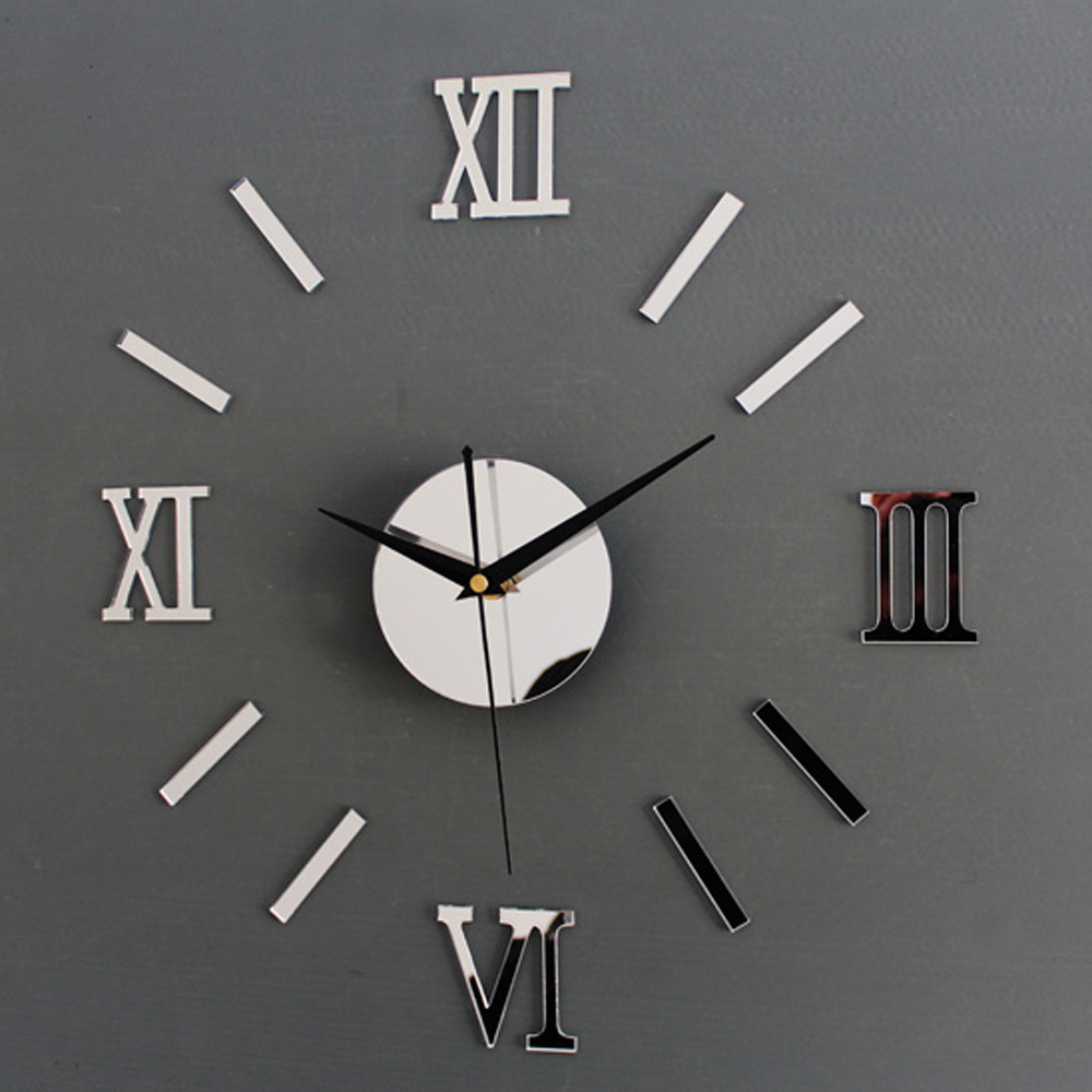 diy wall clock d picture  more detailed picture about diy wall  -  diy wall clock d mirror roman font stickers hour modern art watch goldsilver