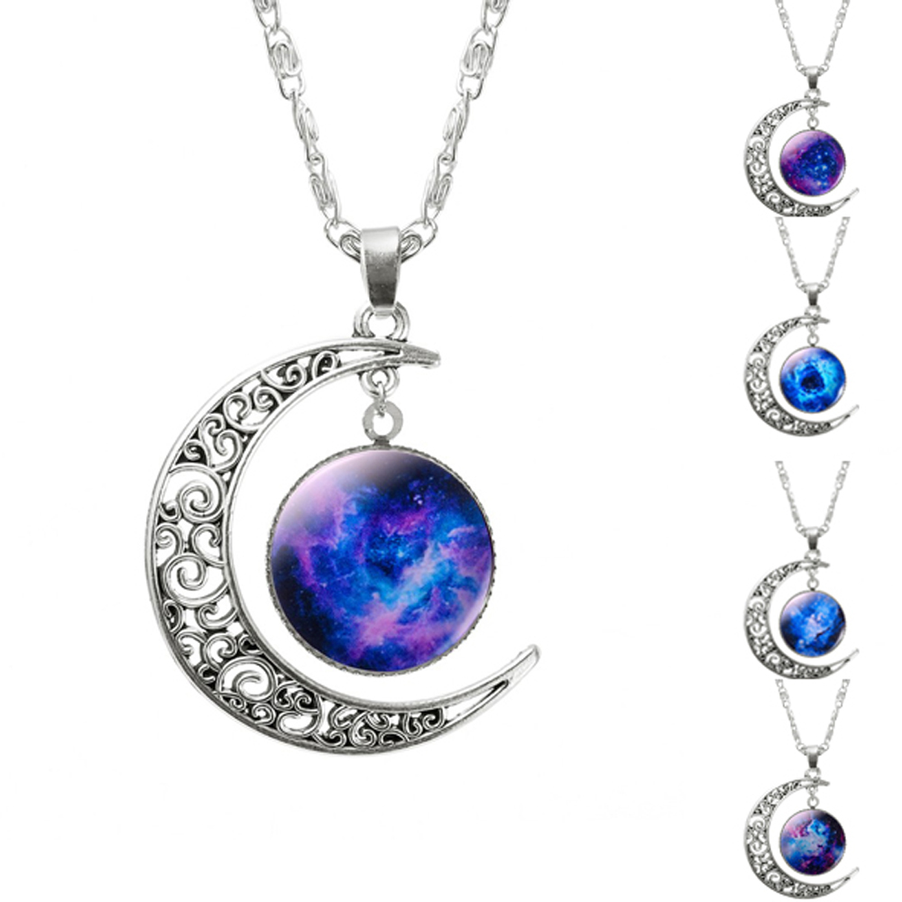 Glass Galaxy Pendant Silver Chain Moon Necklace