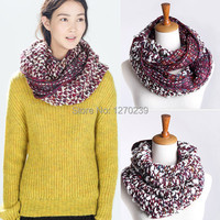 WJ74 Brand Autumn And Winter New 2014 Scarves Mix Colors Knitted Crochet Woolen Yarn Very Warm