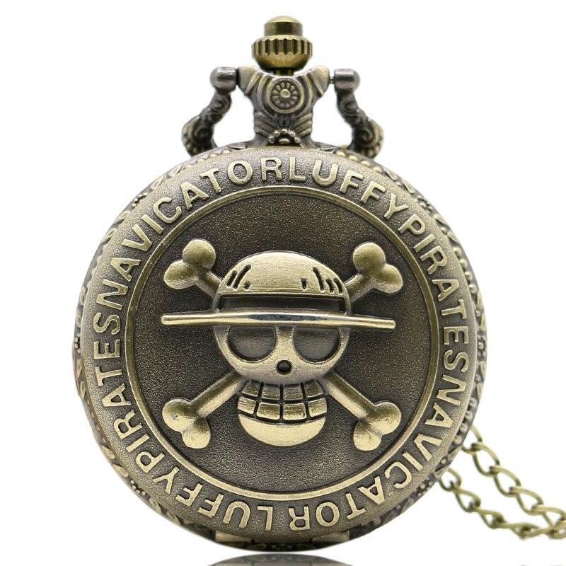 Antique Bronze Luffy Pirates Navicatior Theme Quartz Pocket Watch Skull One Piece Boy Men Watches Gift 80cm Necklace Clock