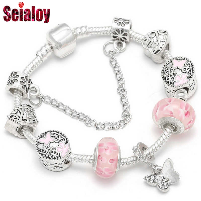 SEIALOY Pink Bracelets For Women Brands Murano Glass Bead Silver Plated Charm Bracelet Jewelry Fit Girls Couple Friendship Gift