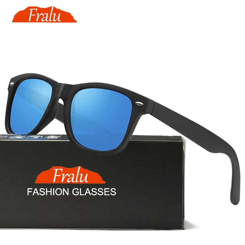 1b3f59bc51 FRALU Fashion Sunglasses Women Polarized Sunglasses Men Driving Mirrors  Coating Points Black Frame Eyewear Male Sun Glasses