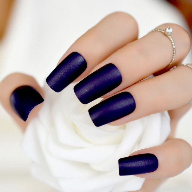 Women Frost Press On Nails Midnight Blue Color Medium DIY Matte ...