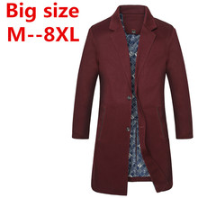 Plus size 9xl 8XL 7XL 6XL 5XL 4XL British Slim double breasted mens long trench coat Europe trenchcoat jacket male coat trench