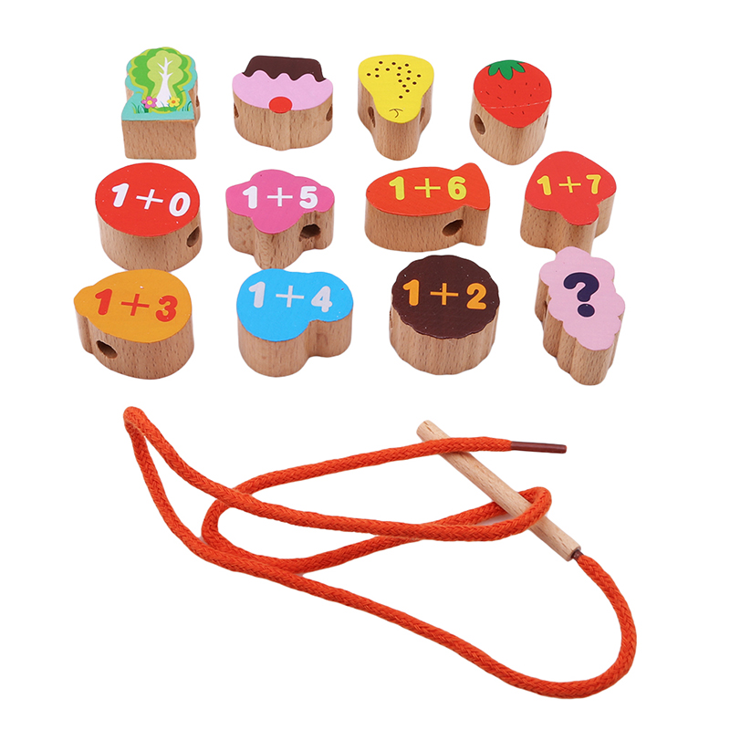Small Lacing & Stringing Wooden Beads Sea Pink Girls With String Packaged With Metal Box Preschool Fine Motor Skills Toys