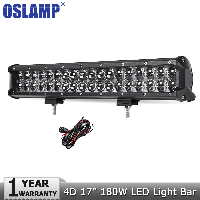 Oslamp 4D 17inch 180W LED Light Bar Offroad Car Auto Led Driving Lamp Work Light Bar for Trucks Boat ATV SUV 4X4 4WD DC12v 24v halloween witch style cotton coat cap suit for pet cat dog black yellow size xl