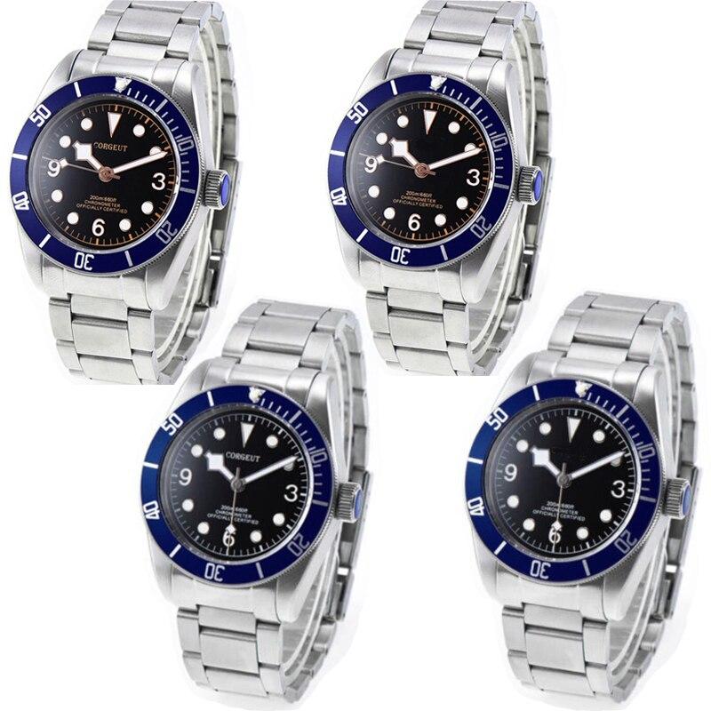 41mm corgeut black sterile dial blue bezel Sapphire 12 jewels miyota automatic men Watch41mm corgeut black sterile dial blue bezel Sapphire 12 jewels miyota automatic men Watch