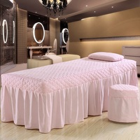 One Piece Brief Cotton Embroidey Beauty Bed Skirt 70*190cm Beauty Salon Bedspread with Hole Customized Size Brown Pink Purple