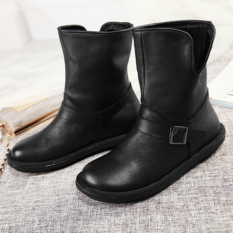 2016 New Fashion Handmade Vintage Boots Women Genuine Leather Low Heels Shoes Women Round Toes Full Grain Leather Boots 3301 handmade genuine leather boots vintage national trend women boots twiddlefish platform flat heels boots women shoes