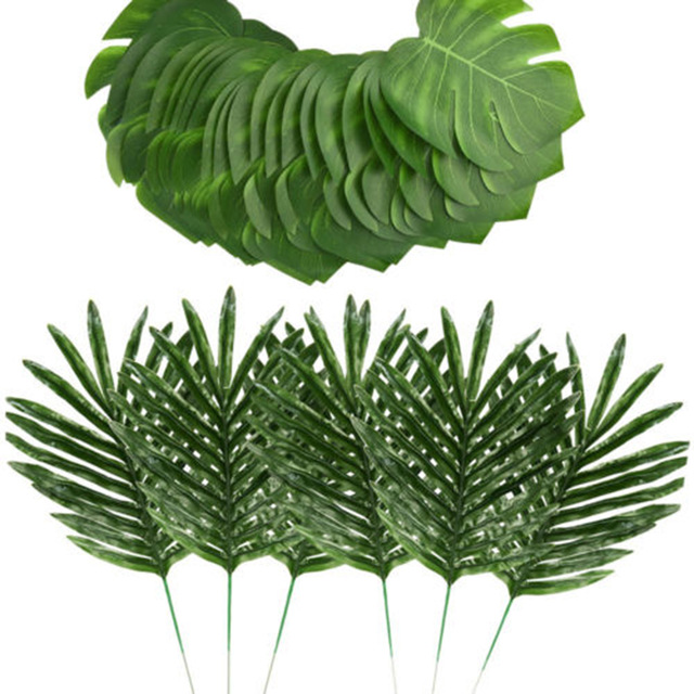 24pcs 2 Kinds Artificial Plants Green Palm Tree Leaves Faux Fake Tropical Home Wall Hanging Decoration 2019 Free Ship in Artificial Plants from Home Garden