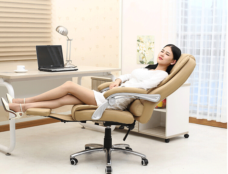 Reclining Leather Office Chairs Ergonomic Computer Chair Home Massage Chairs Fashion Fixed Armrest