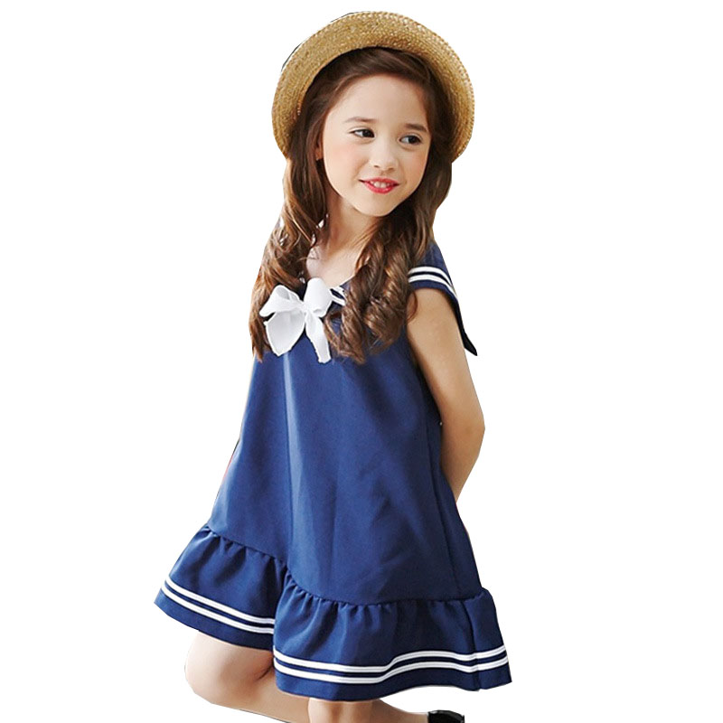 2017 Girls Dress Striped Bow Graduation Gowns Children Lovely Kids Dress Baby Summer Mini Dresses