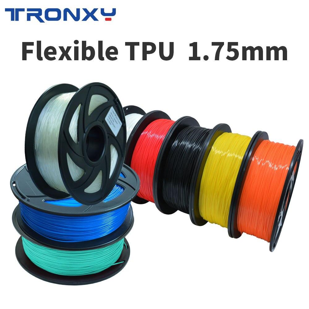 TRONXY souple souple TPU 1.75 MM Filament 1 kg Flex plastique pour impression 3D stylo imprimante 3D Transparent bleu couleur matériaux