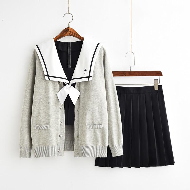 UPHYD Japanese Anime Kawaii Student School Sailor Uniform Sweater Set Cute Skirt Preppy Style School Uniform