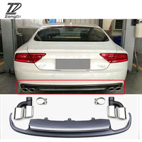 ZD 1Set For Audi A7 Standard Hatchback 2012 2013 2014 2015 Car Exhaust Pipe Tips With Rear Bumper Diffuser spoiler Accessories