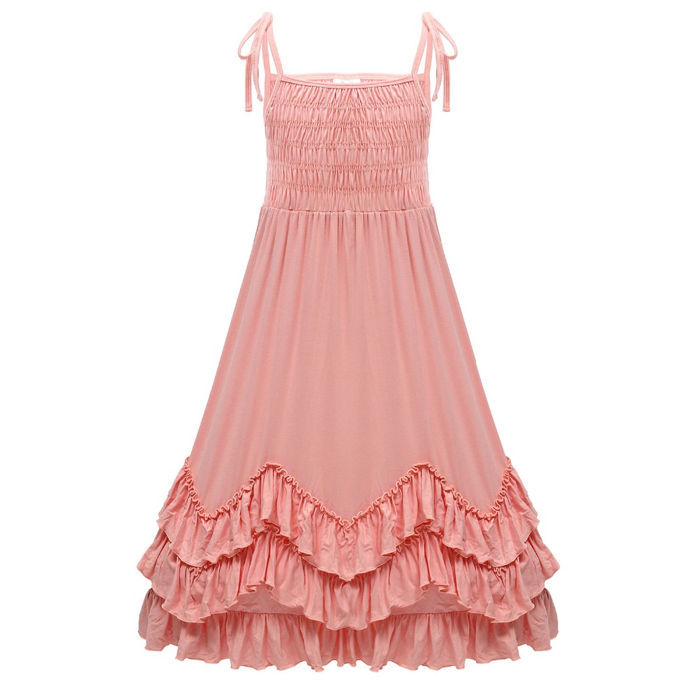 29bfead7acc Cute Girls Ruffles Pink Halter Party Dress Maxi Cotton Dress Adjustable  Strapless Spring Summer Autumn Princess Party Dress