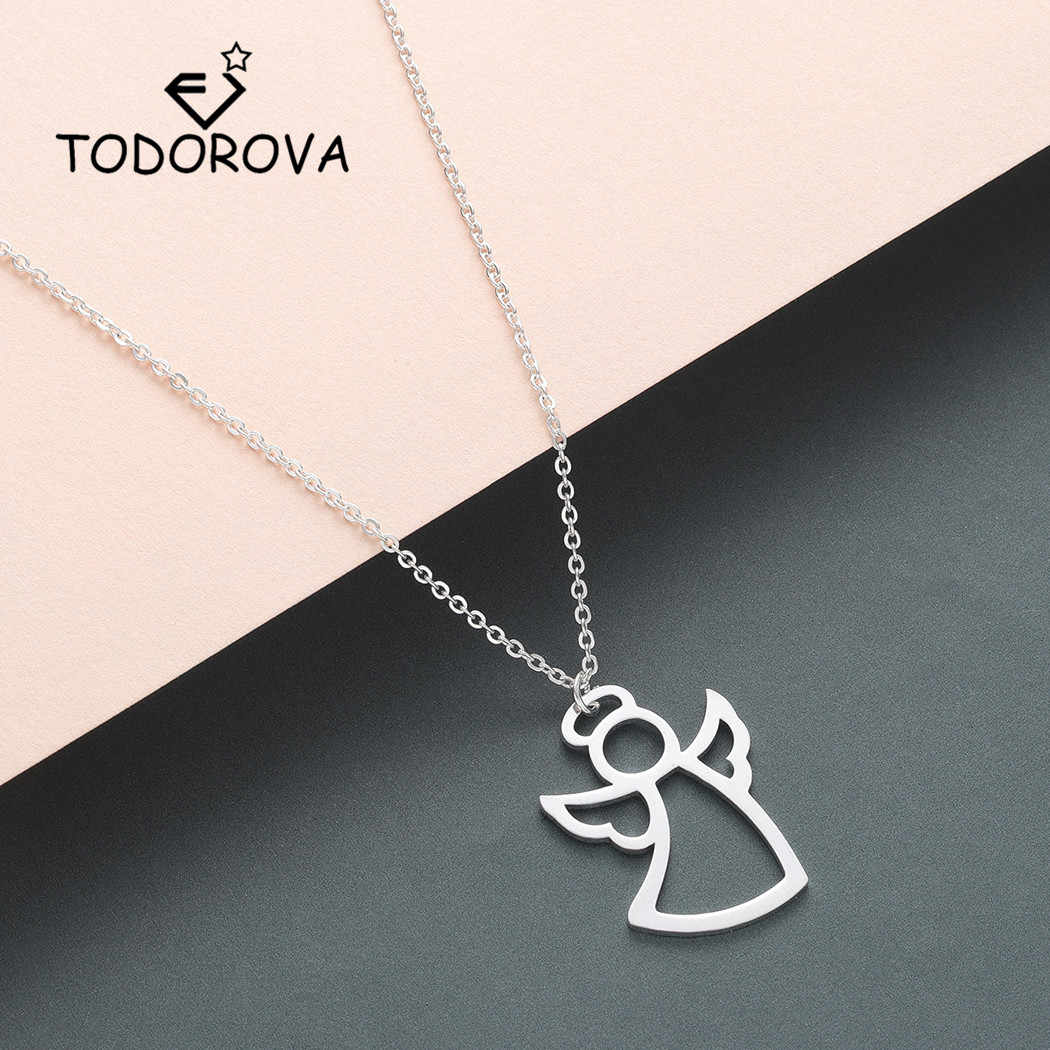 Todorova Guardian Angel Wings Pendant Necklace Women Stainless Steel Jewelry First Communion Gift Statement Necklace