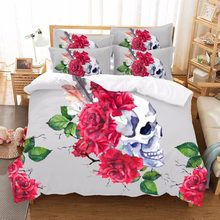 Sugar Skull Bedding Set Floral Bed Duvet Cover Sets Gray Modern 3 Pieces Microfiber Rose Gothic Bedspreads Queen Home Textile F(China)
