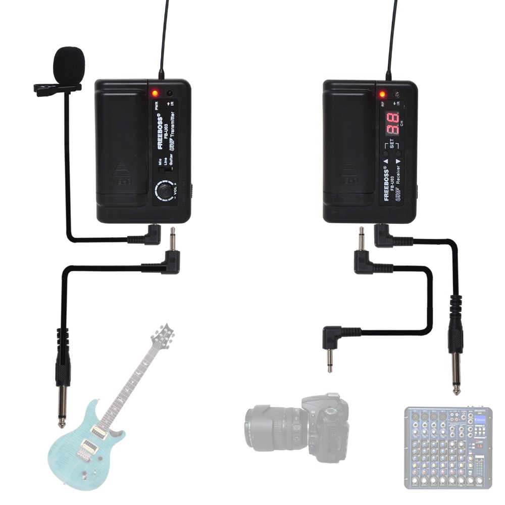 FREEBOSS FB U03 2 1 Way 100 channel Bodypack Transmitter Camera Guitar Wireless Microphone Party Karaoke