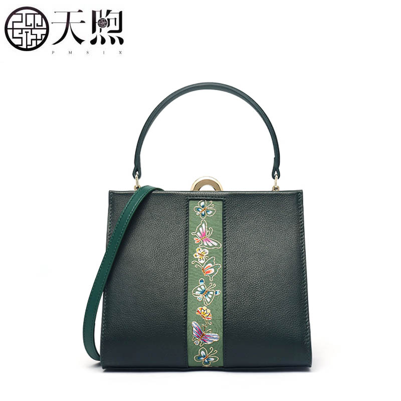 Pmsix 2019 New women Genuine Leather bags famous brand embroidery Luxury quality Cowhide fashion tote women leather shoulder bagPmsix 2019 New women Genuine Leather bags famous brand embroidery Luxury quality Cowhide fashion tote women leather shoulder bag