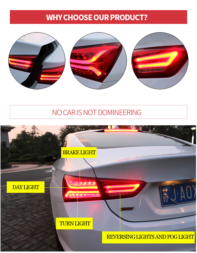 Aliexpress com buy car taillights for chevrolet malibu 2017 2018 auto tail light rear lights with fog lamp reversing lights brake light turn lights from