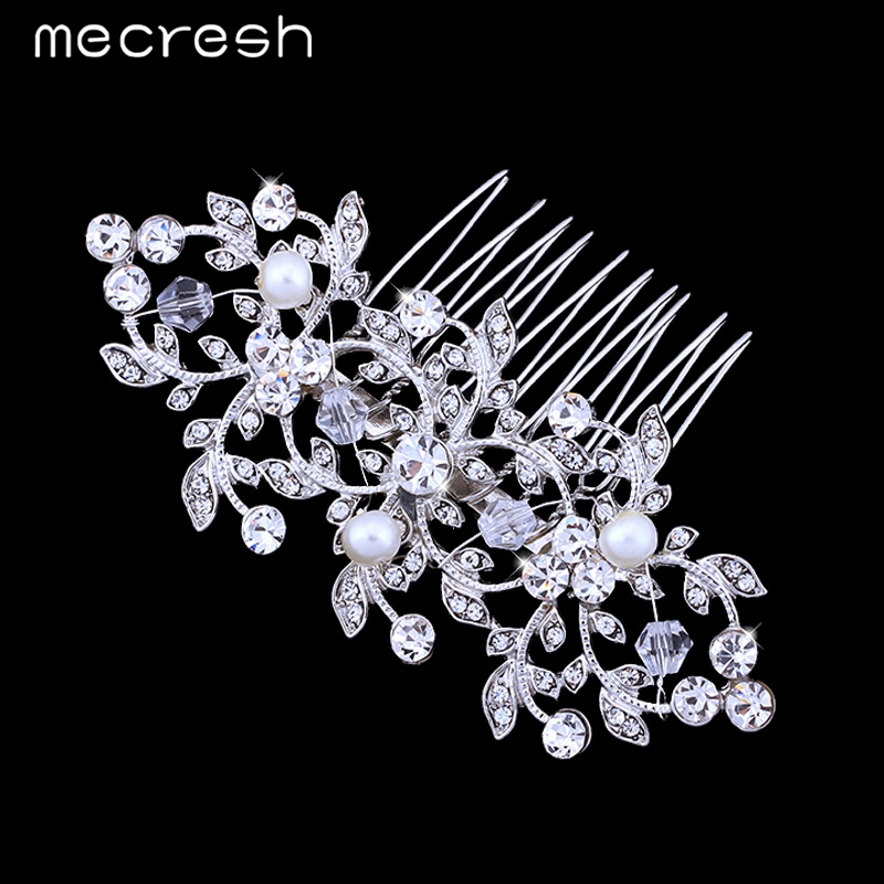 Mecresh Handmade Simulated Pearl Bridal Combs Tiara With Crystal Plant Shape Wedding Hair Jewelry Accessories FS067