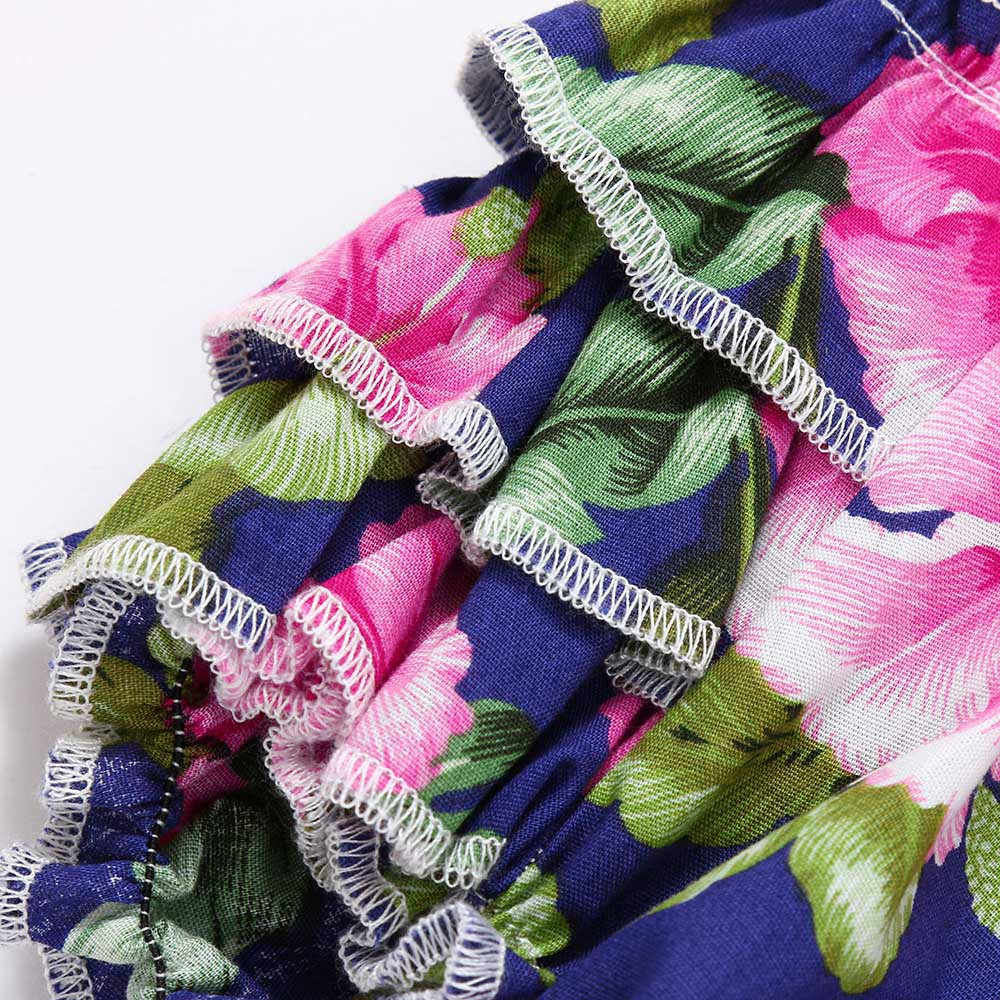 ทารกเด็กทารก Romper พิมพ์ลายดอกไม้ชุดราตรีชุด Outfits เสื้อผ้าฤดูร้อนครอบครัวชุดเดรสแขนกุดสีฟ้า Conjunto infantil