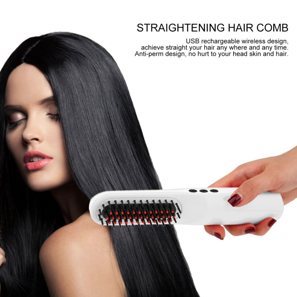 Rechargeable Straightening Brush USB Wireless Electric Curling Irons Straight Comb Brush Mini Portable Hair Curler Brush