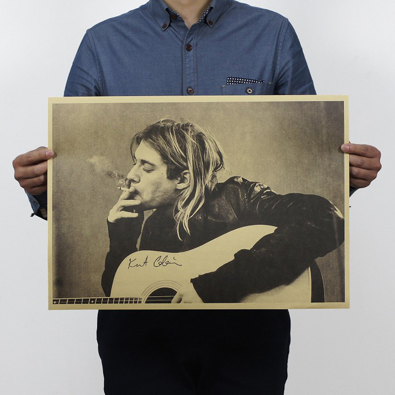 Free shipping,Kurt Cobain/Nirvana frontman / rock poster/kraft paper/Cafe/bar poster/ Retro Poster/decorative painting 51x35.5cm