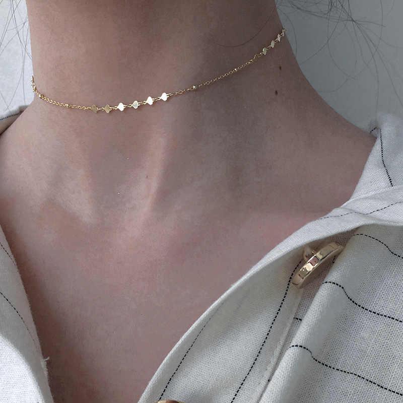 925 Sterling Silver Chokers Kalung untuk Wanita Permukaan Glossy Pendek Fashion Klavikula Kalung Wanita Femme Perhiasan Aksesoris